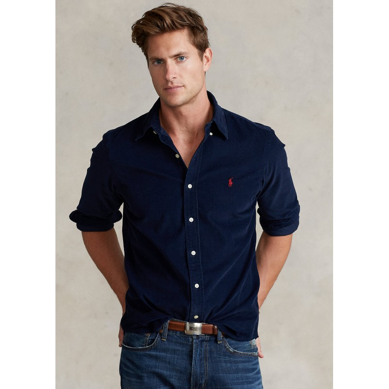 POLO RALPH LAUREN - Camicia a costine in velluto 710853123 - Navy