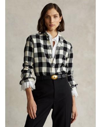 POLO RALPH LAUREN - Camicia a Quadri Classic Fit - Crema/Nero