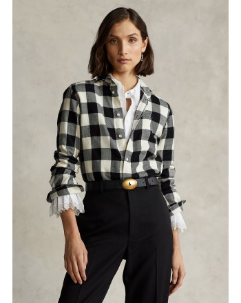 POLO RALPH LAUREN - Classic Fit Squared Shirt - Cream/Black