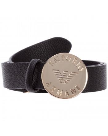 EMANUELLE VEE - Ecologic Leather Logo Belt  - Black