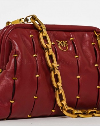 PINKO - MAXY CHAIN CLUTCH PINCHED  Bag  - Daerk Red