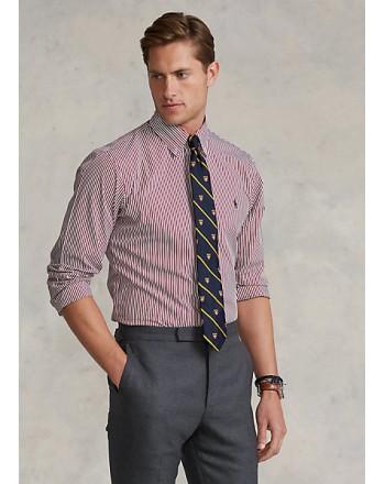 POLO RALPH LAUREN - Slim-Fit Striped Poplin Shirt 710849298 - Wine / White