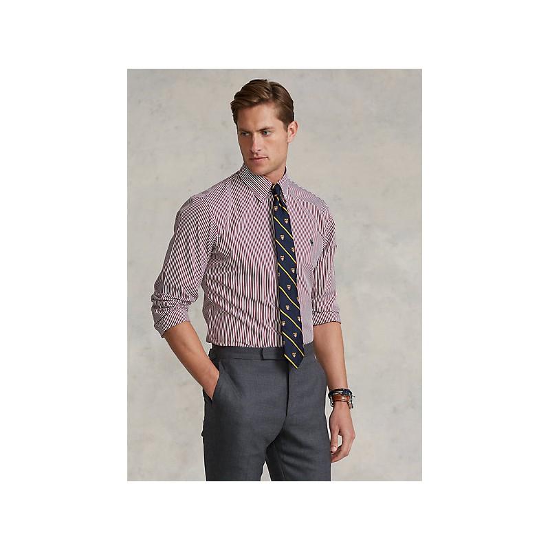 POLO RALPH LAUREN - Camicia popeline a righe Slim-Fit 710849298 - Vino/Bianco