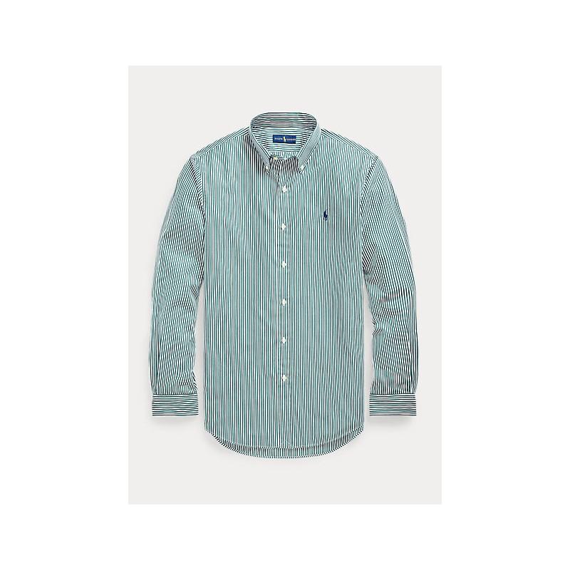POLO RALPH LAUREN - Camicia popeline a righe Slim-Fit 710849298 - Pino/Bianco