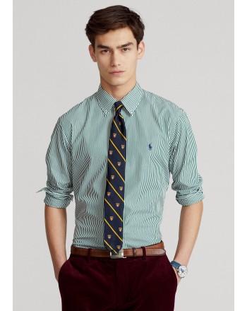 POLO RALPH LAUREN - Slim-Fit striped poplin shirt 710849298 - Pine / White