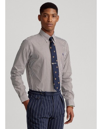 POLO RALPH LAUREN - Slim-Fit striped poplin shirt 710849298 - Brown / White