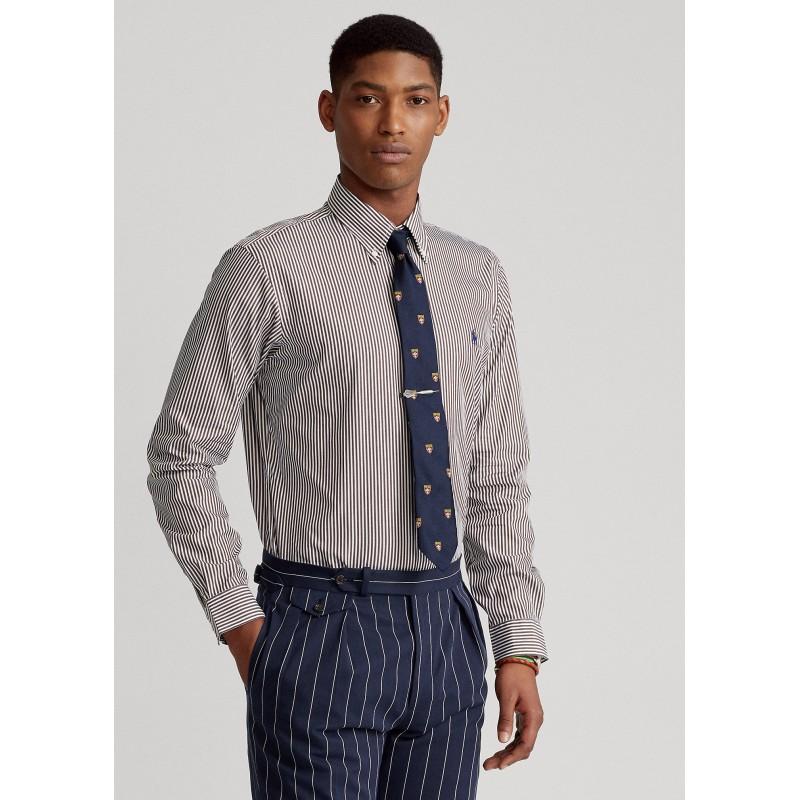 POLO RALPH LAUREN - Camicia popeline a righe Slim-Fit 710849298 - Brown/Bianco