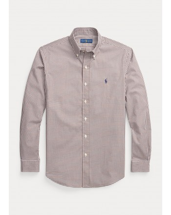 POLO RALPH LAUREN - Camicia vichy in popeline Custom-Fit 710853390 - Marrone/Bianco