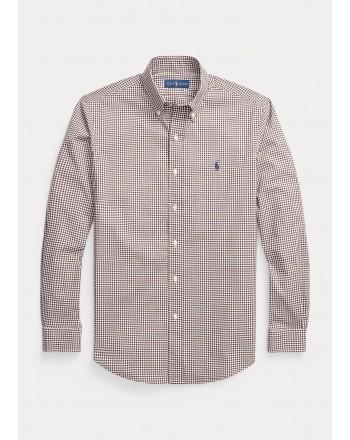 POLO RALPH LAUREN - Custom-Fit poplin vichy shirt 710853390 - Brown / White