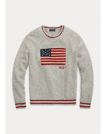 POLO RALPH LAUREN - Mottled sweater with flag 710850101 - Fawn Gray