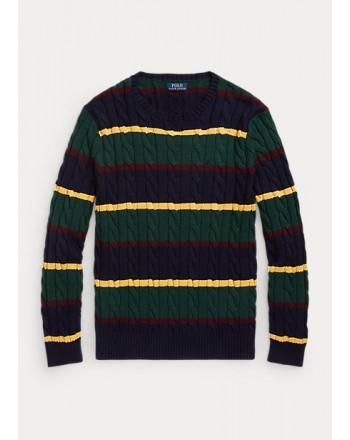 POLO RALPH LAUREN - Striped cable-knit cotton sweater 710850106 - Multicolor