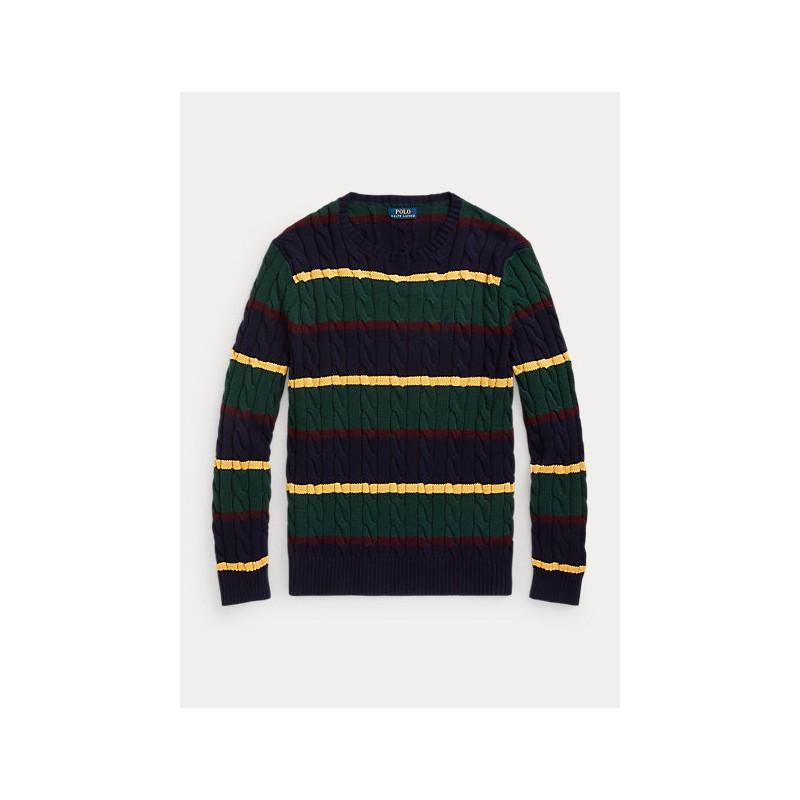 POLO RALPH LAUREN - Maglia a righe in cotone a trecce 710850106 - Multicolor