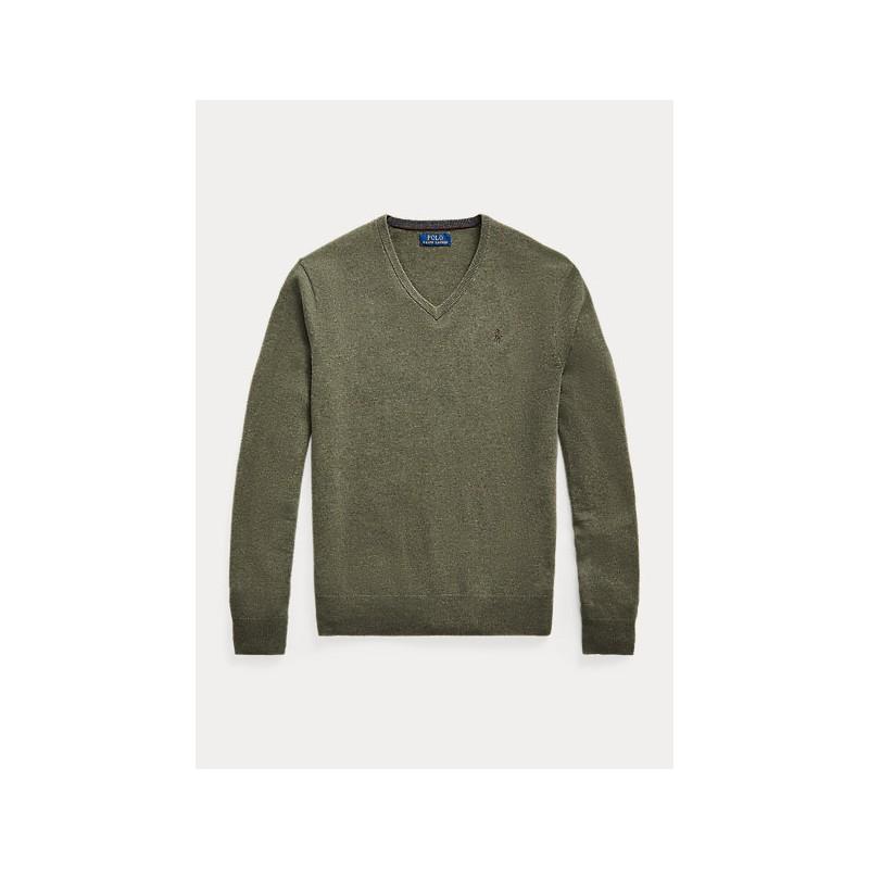 POLO RALPH LAUREN - Maglia in lana merino con scollo a V - Grigio