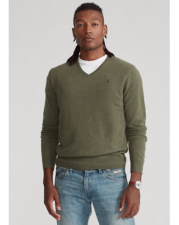POLO RALPH LAUREN - Merino wool sweater with V-neck - Gray
