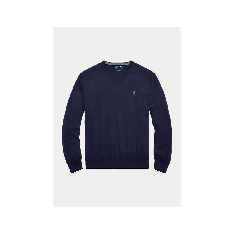 POLO RALPH LAUREN - Merino wool sweater with V-neck - Hunter Navy