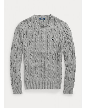 POLO RALPH LAUREN - Cable-knit cotton sweater 710775885 - Gray Heather