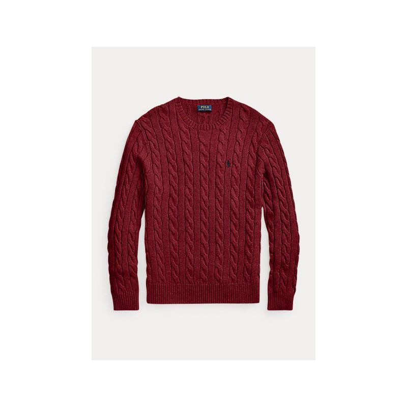 POLO RALPH LAUREN - Cable-knit cotton sweater 710775885 - Bordeaux