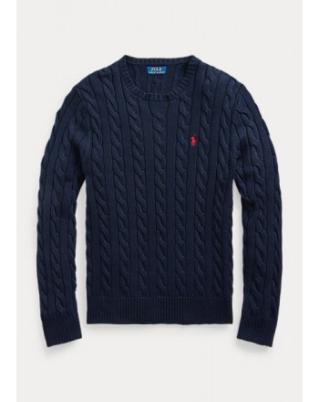 POLO RALPH LAUREN - Cable-knit cotton sweater 710775885 - Navy