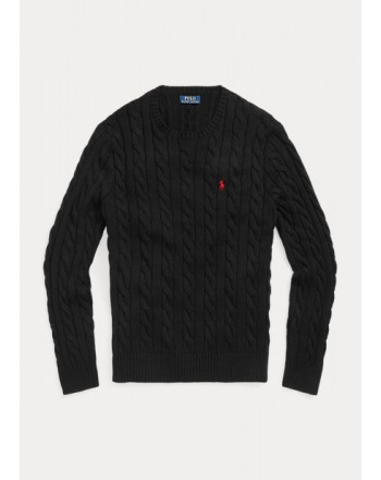POLO RALPH LAUREN - Cable-knit cotton sweater 710775885 - Black