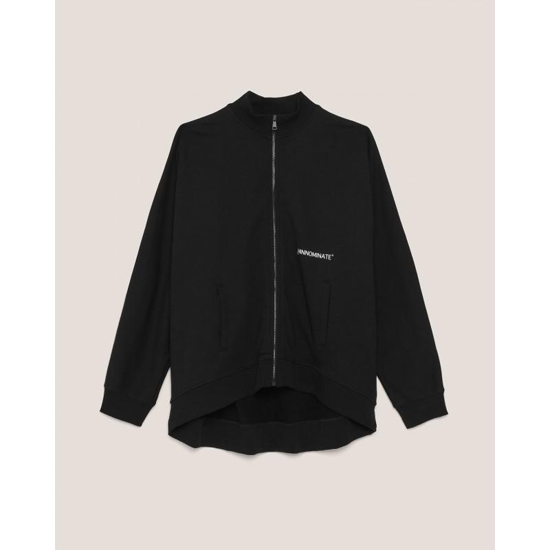 HINNOMINATE - Turtleneck Fleece Zipper Jacket- Black