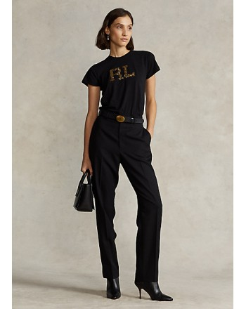 POLO RALPH LAUREN -T-Shirt con Logo Paillettes - Nero