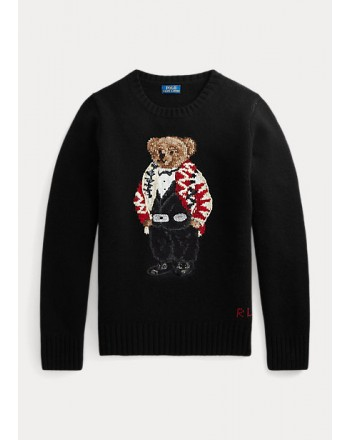 POLO RALPH LAUREN KIDS - Wool and Cashmere POLO BEAR Beads Knit - Black