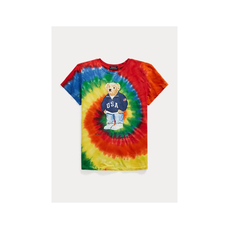 POLO RALPH LAUREN KIDS - Tie Dye POLO BEAR T-Shirt- Rasta Blue
