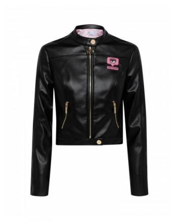 CHIARA FERRAGNI - SMOOTH BLACK Biker Jacket - Black