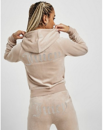 JUICY COUTURE - ROBERTSON DIAMANTE Hoodie - Warm Taupe