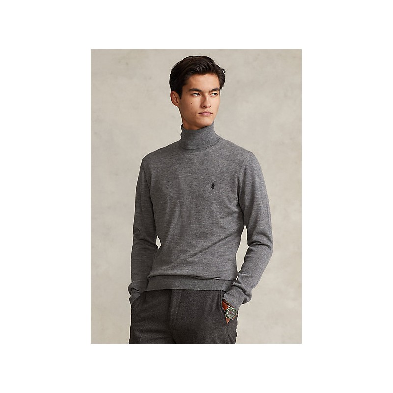 POLO RALPH LAUREN - Washable wool turtleneck sweater 710771090 - Gray