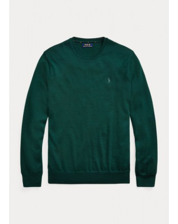 POLO RALPH LAUREN - Washable wool sweater around the neck 710714346 - College green