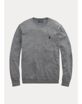 POLO RALPH LAUREN - Maglia in lana lavabile girocollo 710714346 - Grey heather
