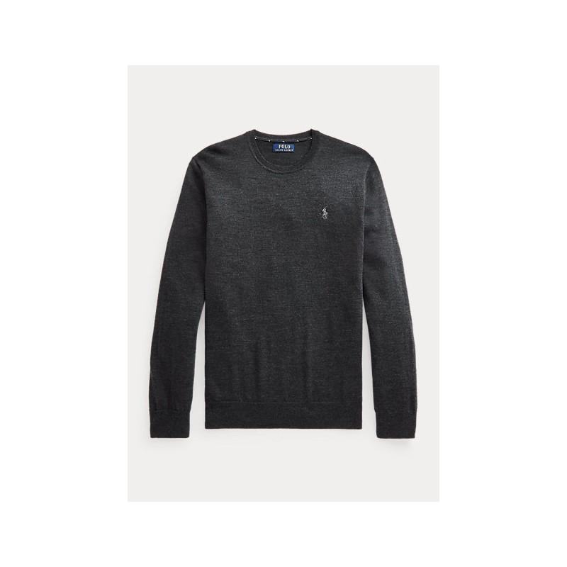 POLO RALPH LAUREN - Maglia in lana lavabile girocollo 710714346 - Nero