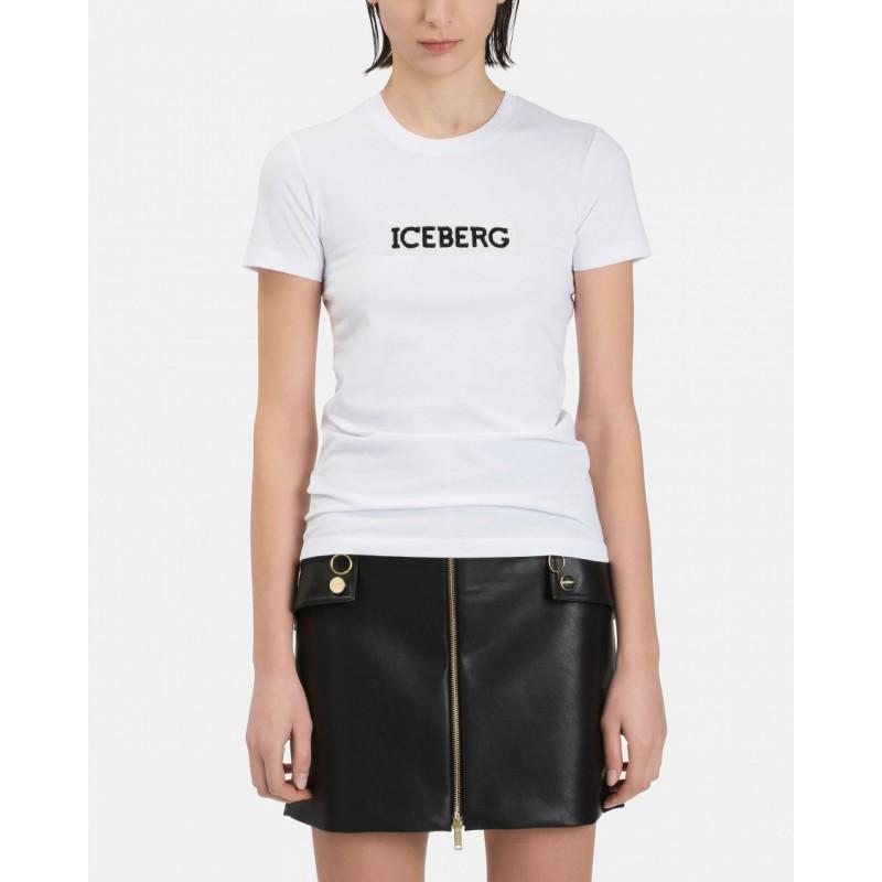 ICEBERG - T-Shirt con Logo in Paillettes - Bianco