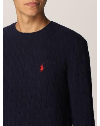 POLO RALPH LAUREN - Maglia Polo Ralph Lauren lana e cashmere 710719546 - Navy