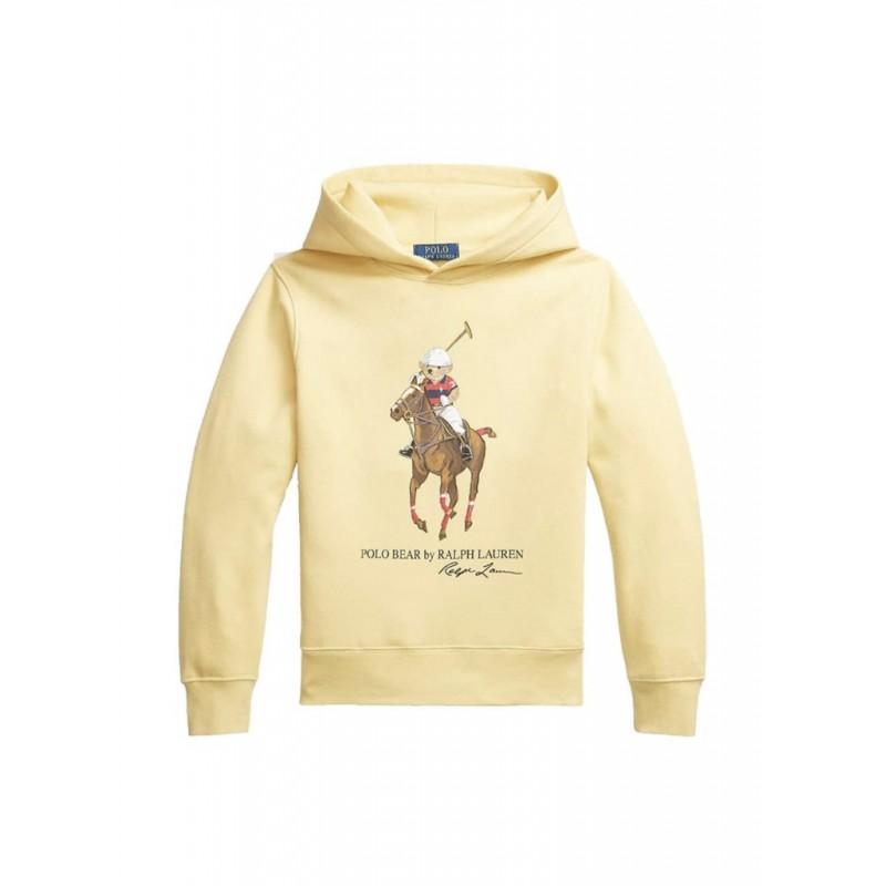 POLO RALPH LAUREN - Felpa con cappuccio Polo Bear e Big Pony 710853309 - Giallo