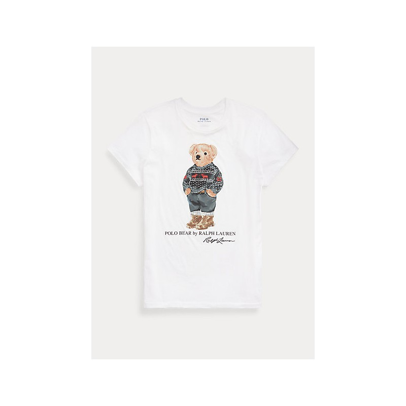 POLO RALPH LAUREN - SKI P0OLO BEAR Cotton T-Shirt - White