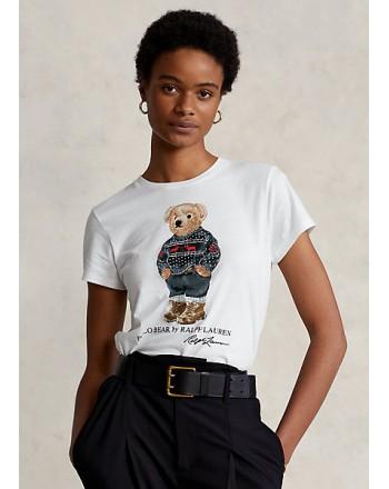 POLO RALPH LAUREN - T-Shirt in Cotone SKI POLO BEAR - Bianco