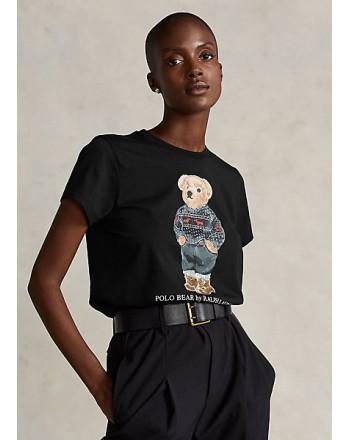 POLO RALPH LAUREN - T-Shirt in Cotone SKI POLO BEAR - Nero