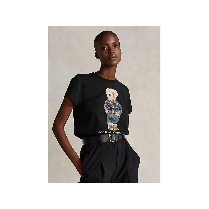 POLO RALPH LAUREN - SKI POLO BEAR Cotton T-Shirt - Black