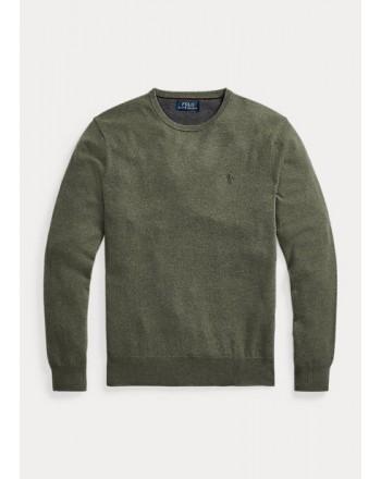 POLO RALPH LAUREN - Merino wool crewneck sweater 710667378 - Green Heather