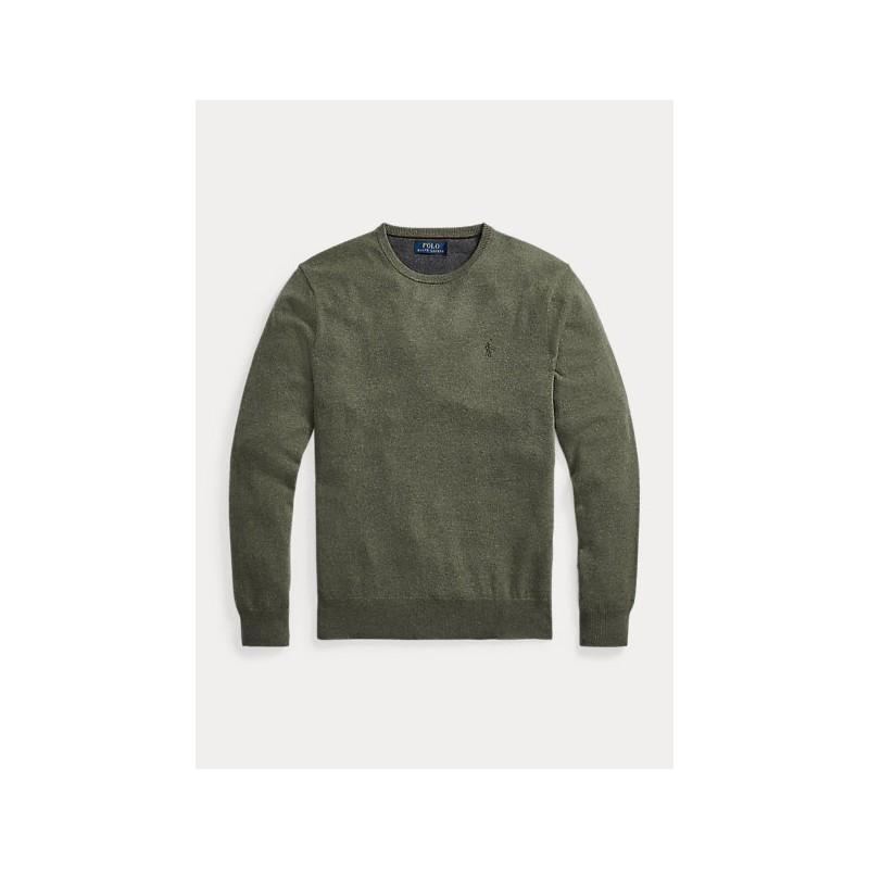 POLO RALPH LAUREN - Maglia a girocollo in lana merino 710667378 - Green Heather