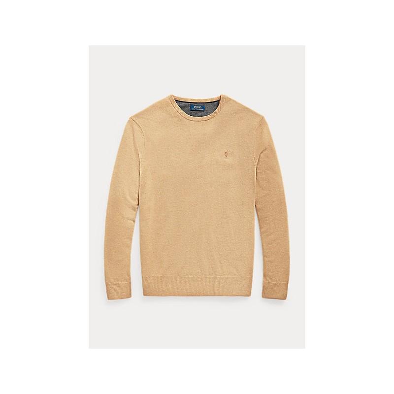 POLO RALPH LAUREN - Maglia a girocollo in lana merino 710667378 - Camel Melange
