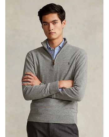 POLO RALPH LAUREN - Merino wool sweater with zip 710723053 - Grey