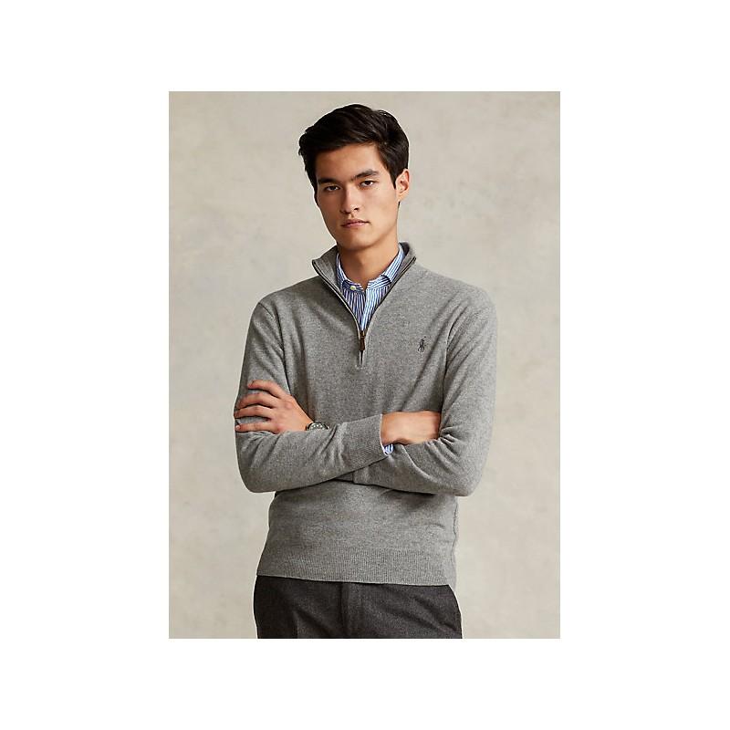POLO RALPH LAUREN - Maglia in lana merino con cerniera 710723053 - Grey