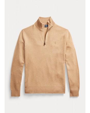 POLO RALPH LAUREN - Maglia in lana merino con cerniera 710723053 - Camel melange