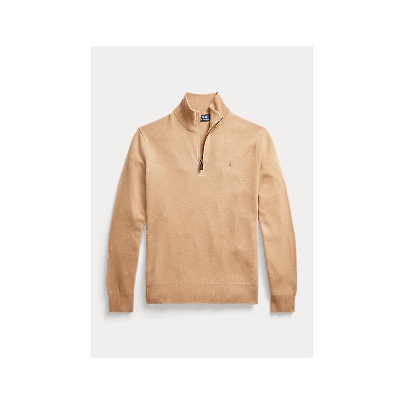 POLO RALPH LAUREN - Merino wool sweater with zip 710723053 - Camel melange
