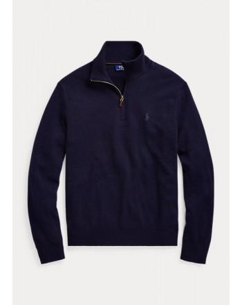 POLO RALPH LAUREN - Maglia in lana merino con cerniera 710723053 - Navy