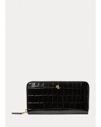 POLO RALPH LAUREN - CONTINENTAL Croco Leather Wallet - Black