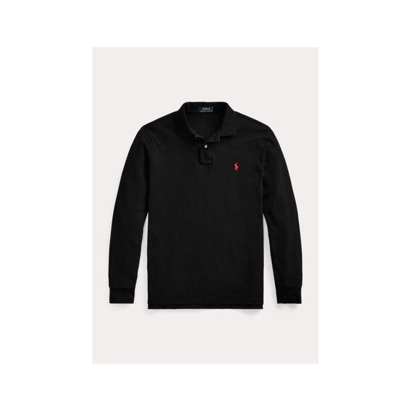 POLO RALPH LAUREN - Custom Slim-Fit piqué polo shirt 710681126 - Black
